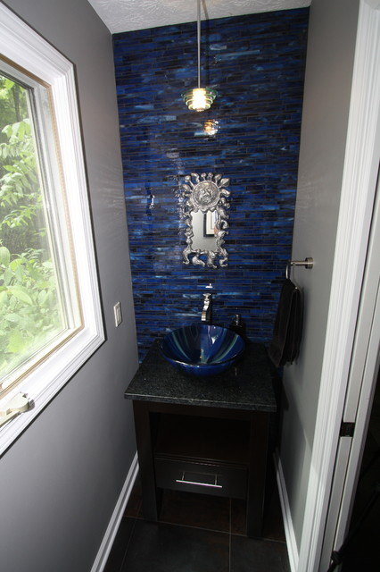 Cobalt blue powder room contemporary bathroom - Cobalt blue bathroom accessories ...