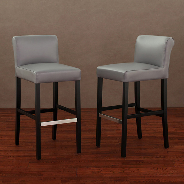 Leather counter stool set of 2 ivory contemporary bar stools - Cosmopolitan Charcoal Leather Barstool Set Of 2