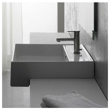 Teorema Semi Recessed Single Hole Bathroom Sink in White modern-bath-products