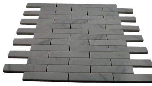 White Carrera Big Brick Pattern Marble Mosaic Tiles contemporary-tile