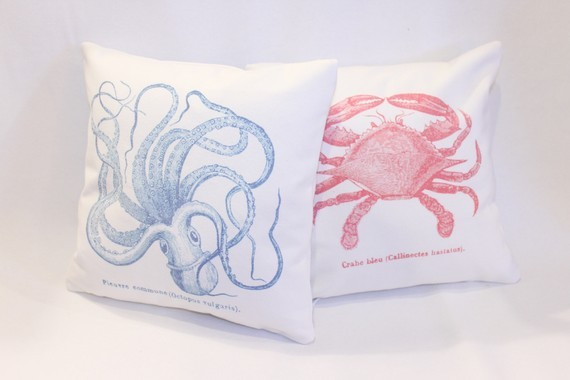 Canvas Sea Creature Pillow Covers By RVaPillowWorks contemporary pillows