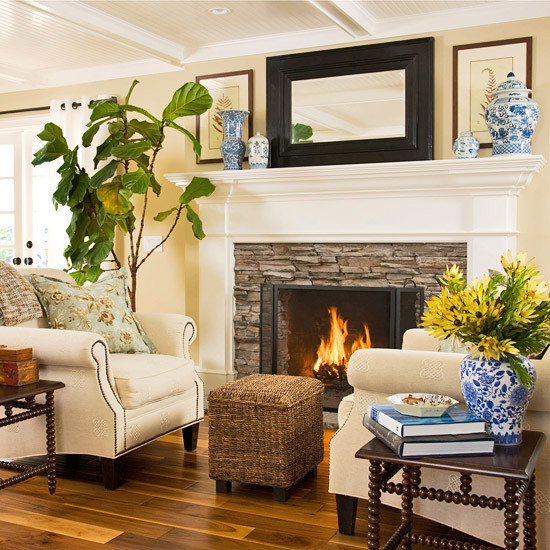 Tree Of Life Fireplace Surround: Stacked Stone Fireplace With Wood Mantel