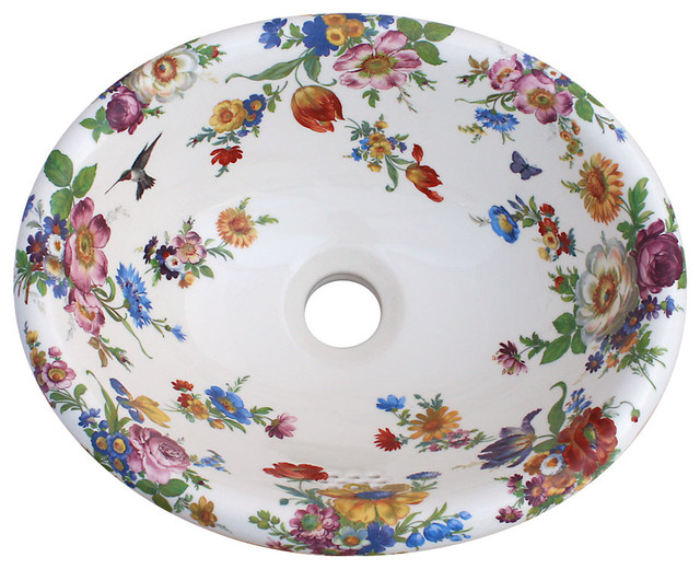 Floral Bathroom Sinks : Scented Garden Hand Painted Sink - Traditional - Bathroom Sinks - by ...