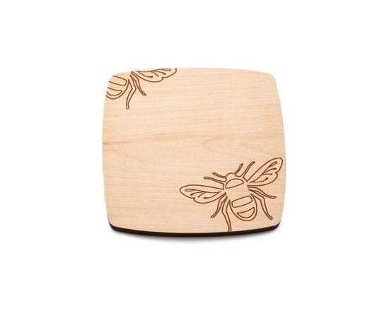 Beehive Bee Cheese Board - Perfect for entertaining, the Bee Cheese Board by Beehive is made of solid Maple and engraved with a fun bee motif.