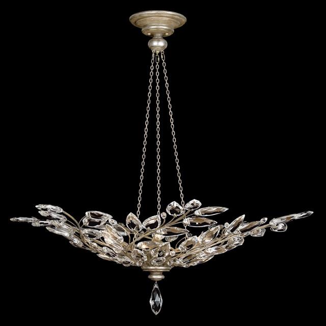 Fine Art Lamps 753740ST Crystal Laurel Warm Silver Leaf Pendant traditional-chandeliers