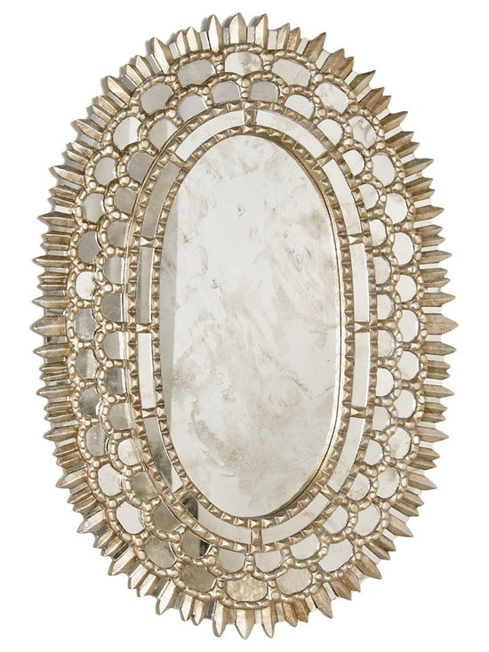 Worlds Away Carmelita Silver Oval Mirror - Silver Leaf Oval Mirror With Insets.