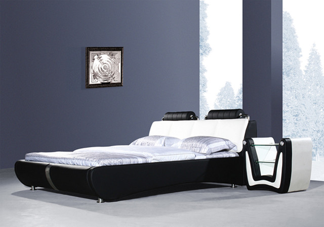 Stylish Black Leather Platform Bed - Queen Size modern-beds