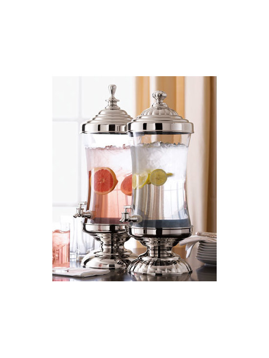 Glass Beverage Servers - Drinks are always an important part of any meal. These glass and nickel-plated beverage dispensers will look beautiful on a sideboard or counter and allow guests to serve themselves.