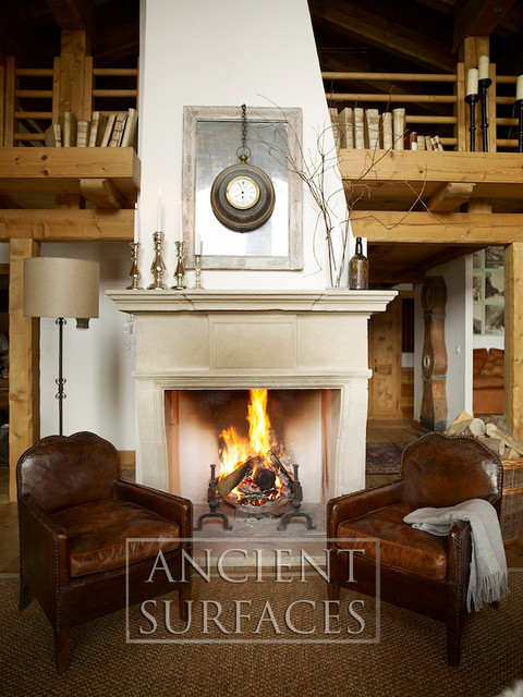 Antique Stone Fireplaces mediterranean-fireplaces
