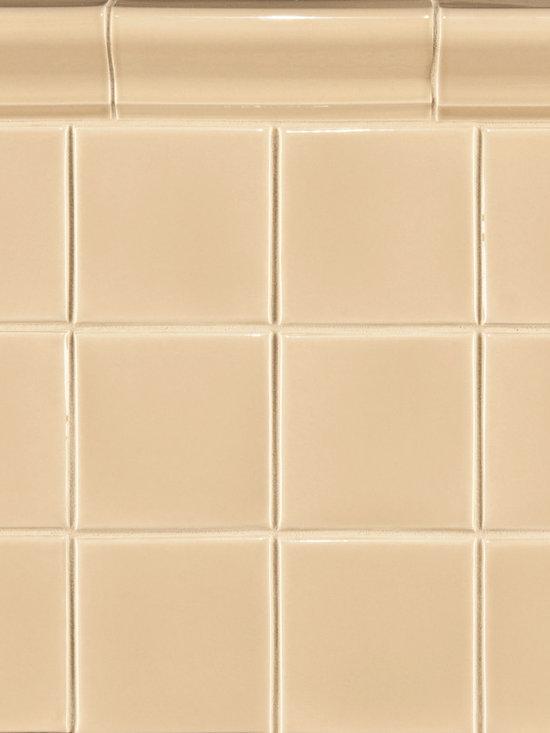 """Ceramic - ANN SACKS Capriccio 4"""" x 4"""" ceramic field and 2-1/4"""" x 6"""" corniche molding in soft yellow gloss"""