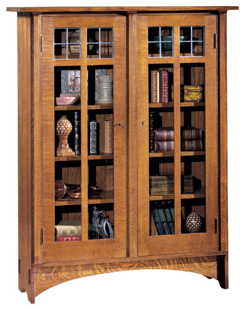Craftsman bookcases with doors styles for Craftsman style bookcase plans