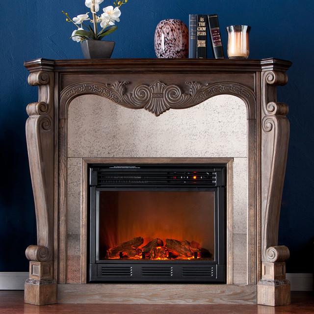 Oakhurst Electric Fireplace Cabinet Mantel Package In Burnt Oak 37 180 023 6 2 Traditional