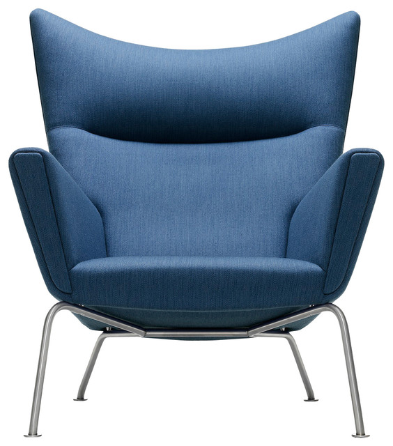 Wegner Ch445 Wing Chair Blue Fabric Contemporary