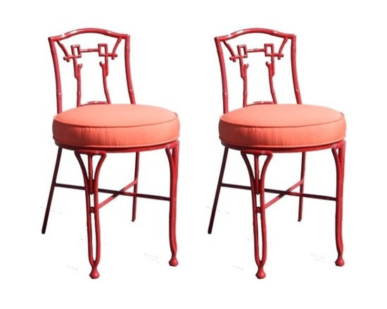 Pair of Asian Style Outdoor Chairs -