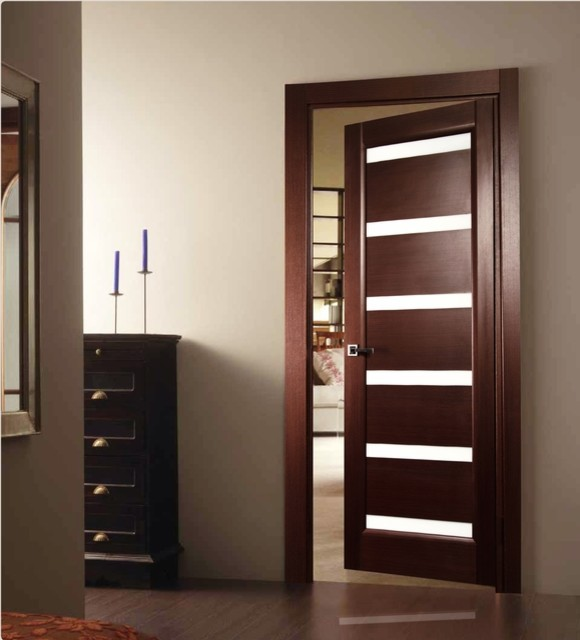Tokio glass modern interior door wenge finish modern for Contemporary house doors