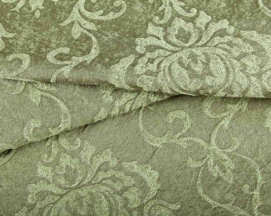 Ornamental Upholstery Fabric in Celadon - Ornamental Upholstery Fabric in Celadon has a floral scroll pattern on a marbled aqua base. This traditional fabric is intricate and surprisingly versatile, working well with many different styles of interior design. American made from 100% cotton. Cleaning code: S. Repeat: 19″V 13″H; Width: 54″