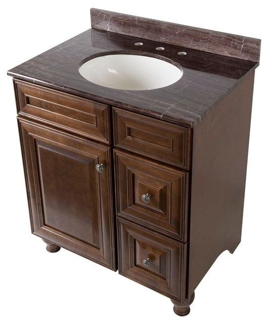 Home Decorators Collection Cabinets Templin 31 in. Vanity in Coffee with Stone - Contemporary ...