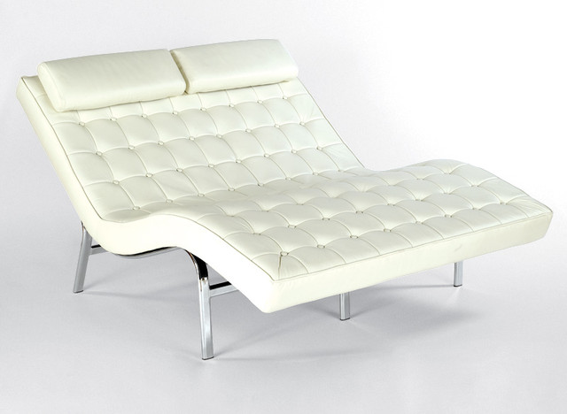 Button Tufted Leather Chaise - Steel Frame, Buttons, Upholstery traditional
