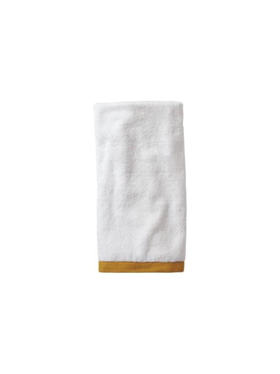 Serena & Lily - Mustard Border Frame Hand Towel - Woven in Portugal from supremely soft cotton, these towels are lofty, absorbent, quick to dry, and won't fade, fray or wear out. We love how the substantial stripe pops against the pure white cotton terry. (The washcloth was kept simple a perfect square of all white.)