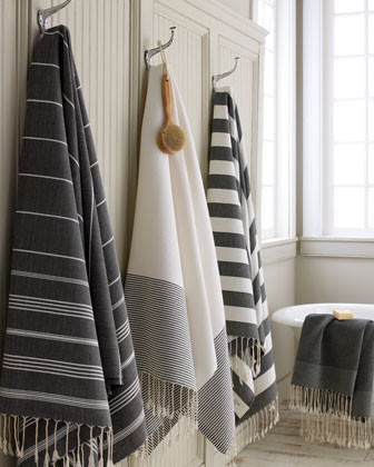 Scents and Feel Irregular-Stripe Fouta Bath Towel traditional towels