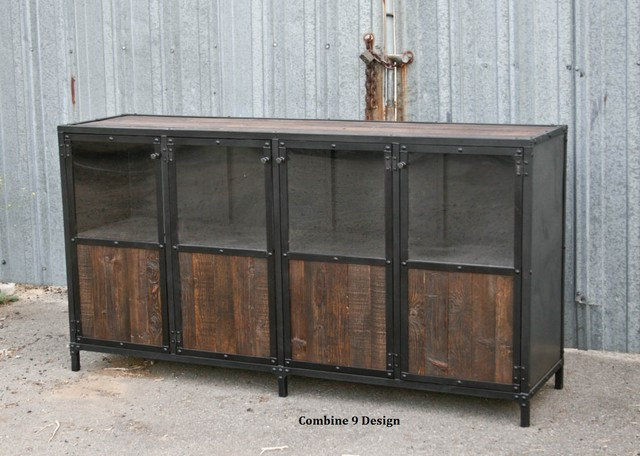 Vintage industrial display case retail fixture mid