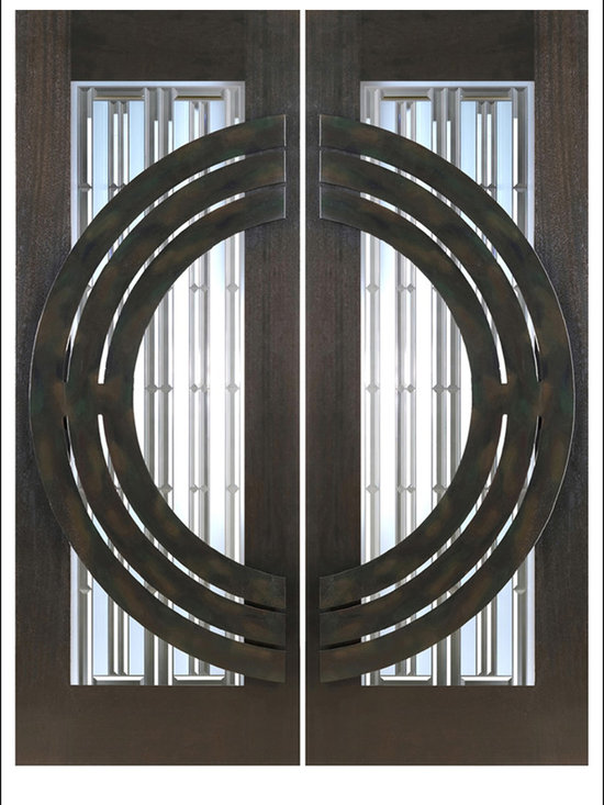 """AAW Inc. - Contemporary Entry Door Model NW-1621 - Model NW-1621 from our New World Collection. Door is solid Mahogany, 2-1/4"""" thick with decorative glass and iron work on the outside."""