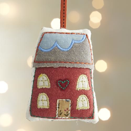 Fabric house with heathered green roof ornament for Contemporary ornaments for the home