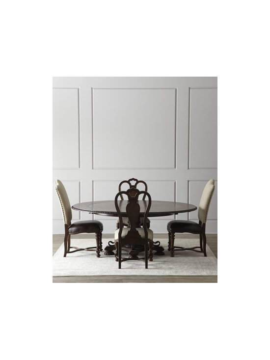 Horchow - Agatha Dining Set - Gracious dining takes on polished sophistication with this 19th-century Spanish-style dining furniture. Save with discounted delivery and processing charges when you order a set. Imported. Crafted of hardwood solids with cherry, walnut, chestnut burl,....