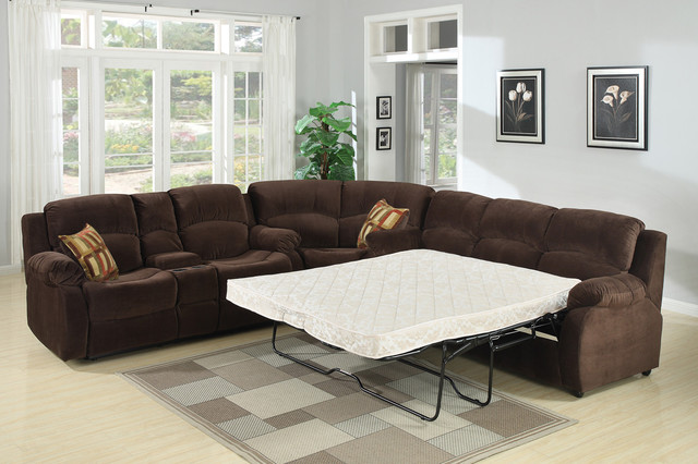 AC Pacific Chocolate Sectional Sofa Couch Queen Bed