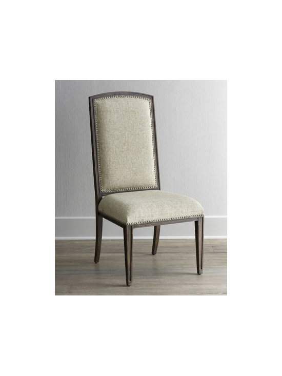 """Horchow - Two Donabella Upholstered Side Chairs - Upholstered side chair featuring relaxed traditional styling with a graceful silhouette highlighted by sleek, tapered legs easily adapts to any environment. Mixed hardwood frame. Polyester upholstery. Sold in pairs; each, 24""""W x 26""""D x 46""""T. Impor..."""