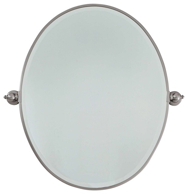 Feiss Brushed Nickel Plated Steel 25 Wide Oval Wall Mirror Traditional Mirrors