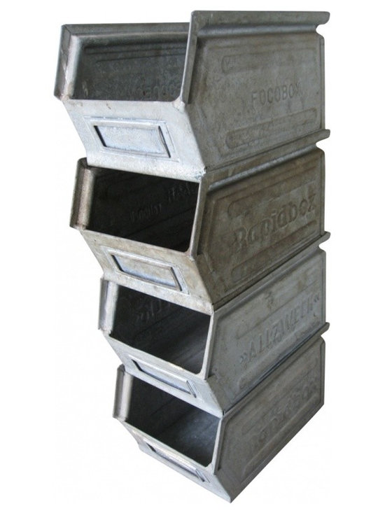 Metal Industrial Stack - Industrial zinc parts bins from the Netherlands. It has great aged patina with raised lettering on the side...FOCOBOX, SAAR RAPIDBOX, and ALLZWECK. Set side by side, stack in twos or I like it stacked as a tower.