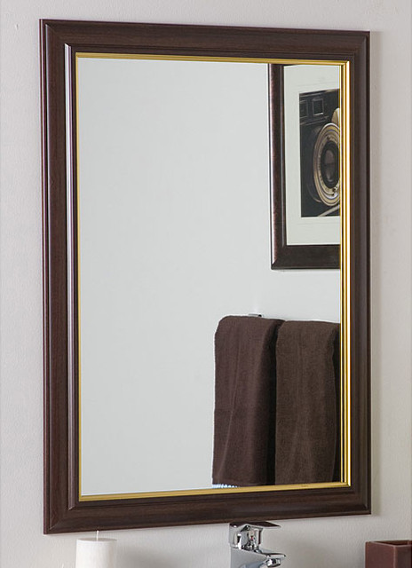 Milan large framed wall mirror contemporary bathroom for Large contemporary mirrors