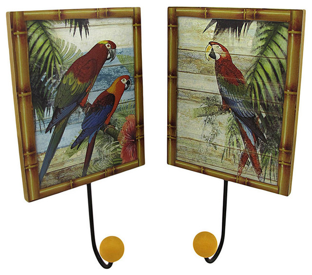 Set of 2 Tropical Parrot Wall Plaques with Coat Hooks contemporary-hooks-and-hangers