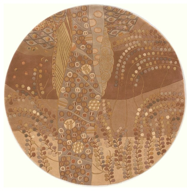 Contemporary new wave round 7 39 9 round beige area rug for Modern round area rugs