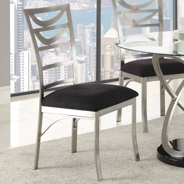 Tapia Dining Chair, Silver Metal - Set of 2 - Contemporary ...