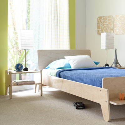 Wood arlo twin bed with bench contemporary kids beds for Modern kids furniture