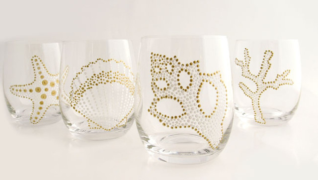 Hand Painted Sea Motif White/Gold Glassware, Set of 4  glassware