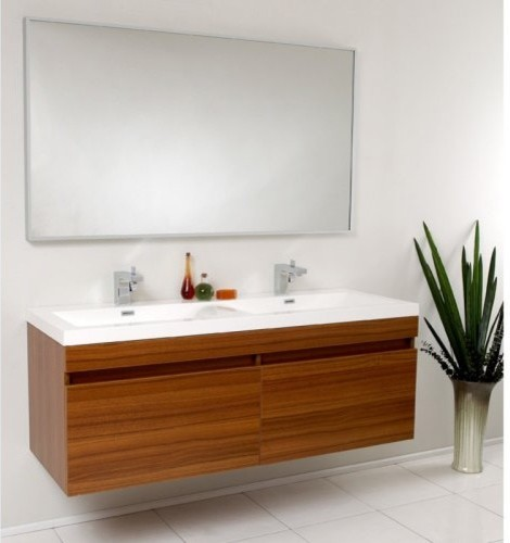 Fresca Largo 56.5-in. Wavy Double Sink Modern Bathroom Vanity ...