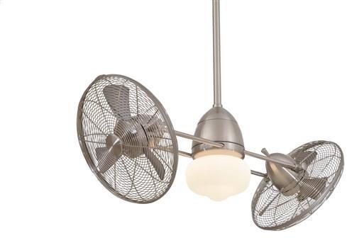 F402-BNW Minka Aire F402-BNW Gyro Wet 1 Light Brushed Nickel Twin Turbo Ceiling modern-ceiling-fans