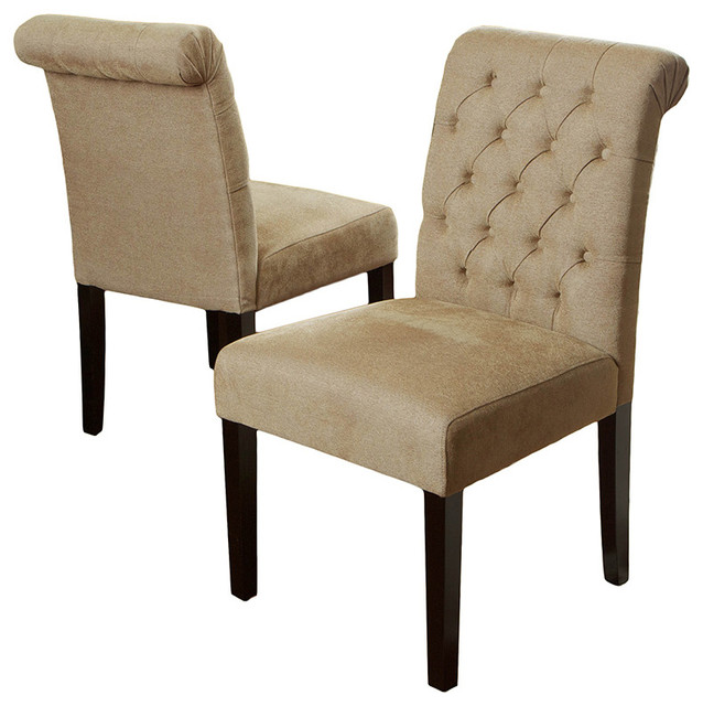Elmerson Roll Back Dining Chairs, Set of 2, Light Brown traditional-dining-chairs