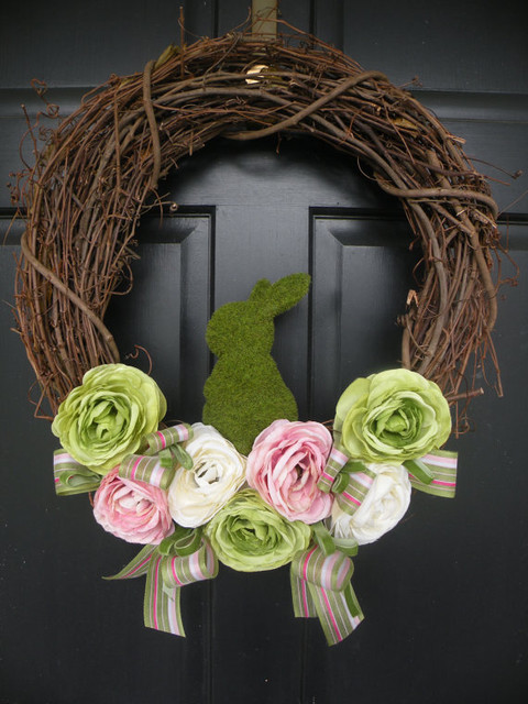 Moss Bunny Ranunculus Easter Wreath By Daulhouse Shop contemporary-wreaths-and-garlands