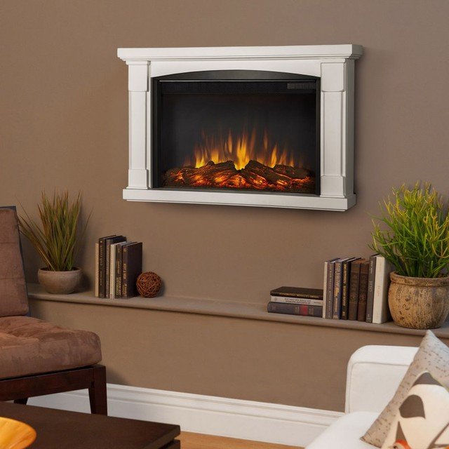 Real Flame Brighton Slim Line Wall Hung Electric Fireplace - White - 770E-W contemporary-fireplaces