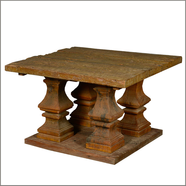Ancient Columns Square Pedestal Coffee Table Reclaimed Wood Furniture Rustic Coffee Tables