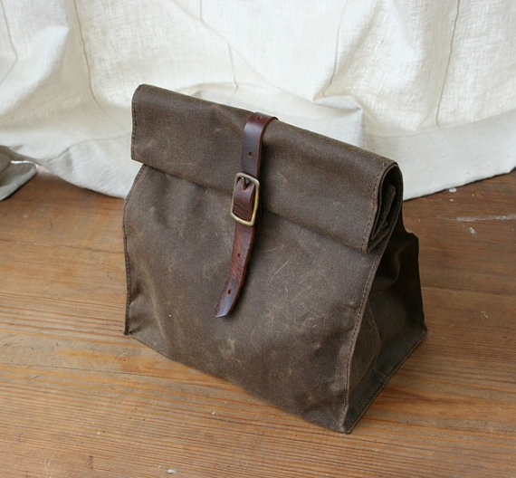 Dark Brown Waxed Canvas Lunch Bag By overlap contemporary-lunch-boxes-and-totes