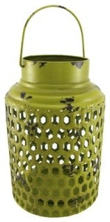 Round Green Metal Candle Lantern Distressed Finish 12 Inch contemporary-patio-furniture-and-outdoor-furniture