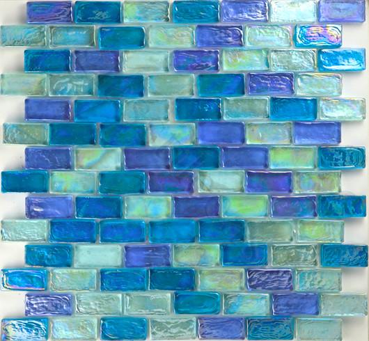 Light Blue Blend Uniform Brick Green Bricks Glossy and Iridescent Glass tropical-tile