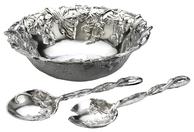Butterfly 3 Piece Salad Set contemporary-serving-and-salad-bowls