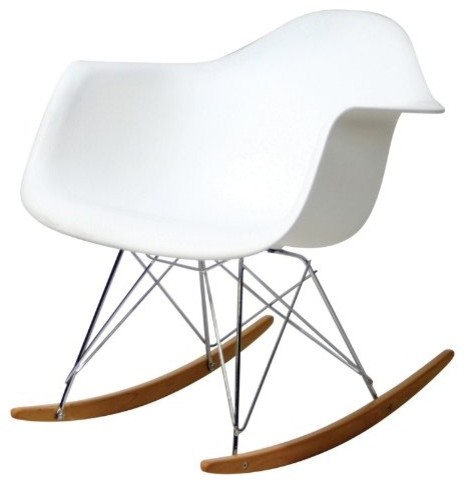 Molded Plastic Rocking Chair In White - Contemporary - Rocking Chairs ...