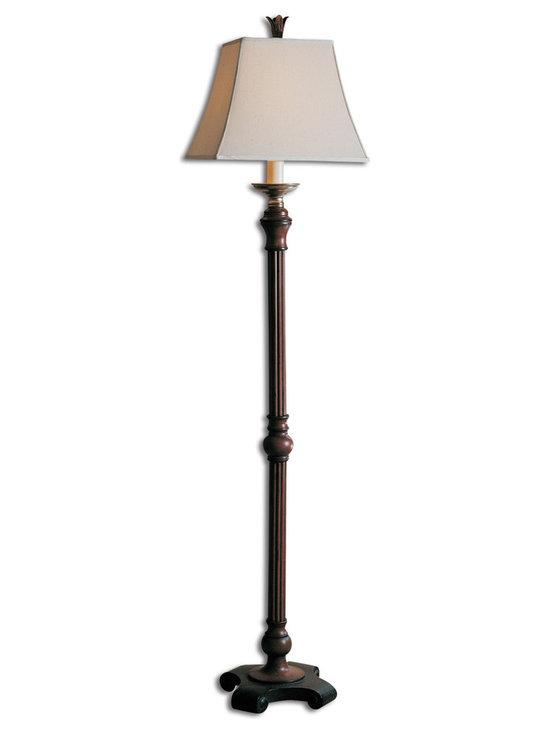 "Phoenix Bronze 1 Light Floor Lamp with Black Canvas - Patio Living Concepts 84926 Phoenix 60"" 1 Light Floor Lamp in Bronze and Silver with Black Canvas Sunbrella Shade"